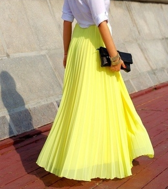 skirt maxi skirt yellow long maxi skirt neon skirt
