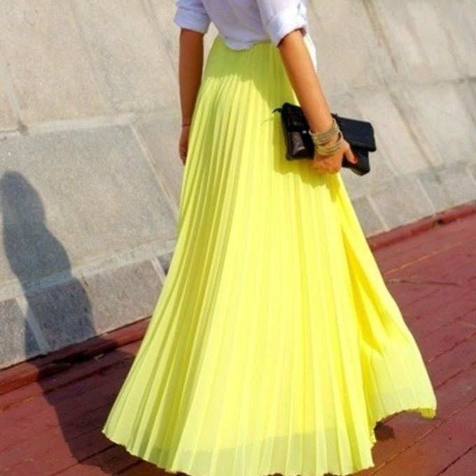 Skirt long maxi skirt neon skirt maxi skirt yellow
