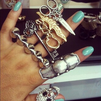 jewels ring skull scissors key accessory nails
