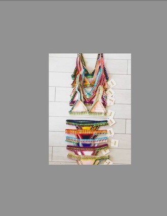 swimwear colorful two-piece triangle top skimpy swimsuit cheeky