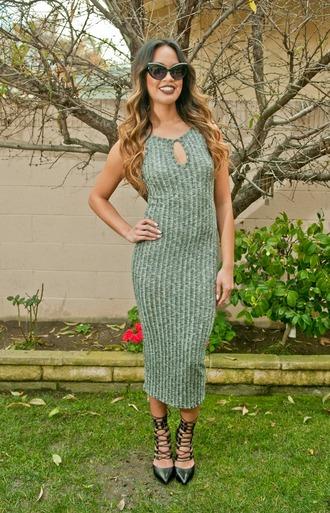 dress midi dress ribbed dress grey dress cute dress