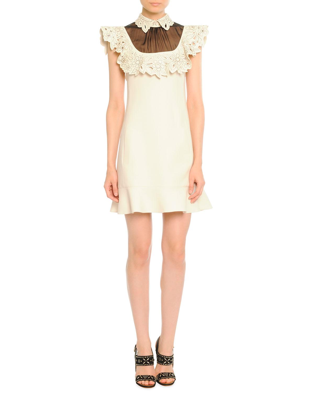 Trim dress, ivory/black