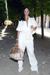 pants,all white everything,sunglasses,bag,top,shirt,jumpsuit,rihanna,celebrity