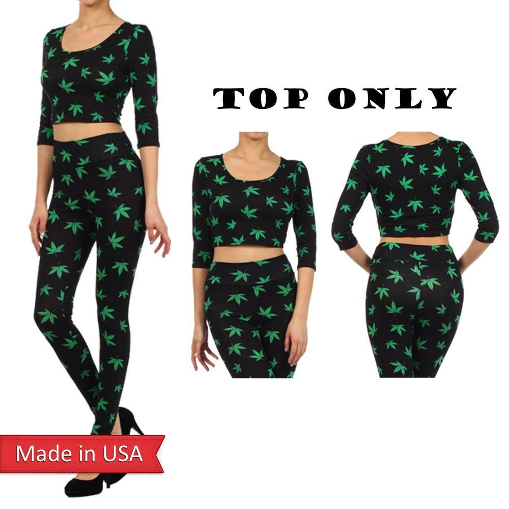 Black Green Pot Weed Marijuana Cannabis Print Cropped 3/4 Sleeve Top Shirt USA