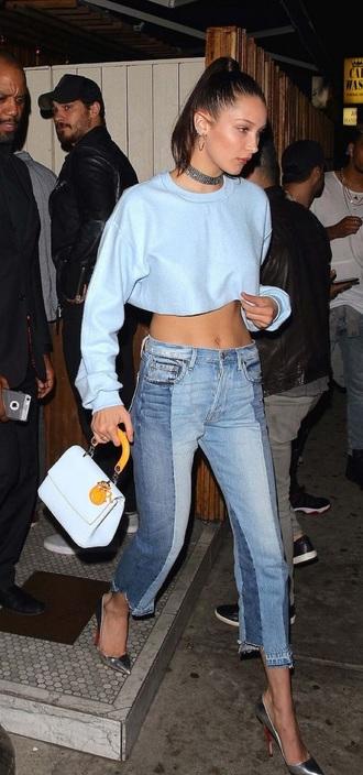 jeans bella hadid denim denim pants denim patches streetstyle bella and gigi