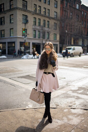 gal meets glam,blogger,gloves,belt,pink coat,pink skirt,fur scarf,pink bag,black boots,pink winter outfit