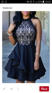 dress,blue,prom,homecoming,classy,lace,high neck