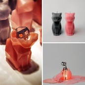 jewels,cats,pink,black,light,candle,candle decor,skeleton,scull,smell,cute,decoration,home decor,pussy,pussycat,halloween,grunge wishlist,Dolphin candle,halloween decor,home accessory,cat candle,grey,pink cat,grey cat,wax