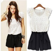 shirt,dress,blouse,jumpsuit,vintage,lace,romper,black,and,white,short,beige black romper