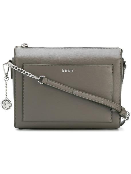 DKNY zip women bag crossbody bag leather grey