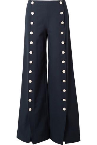 pants wide-leg pants embellished navy