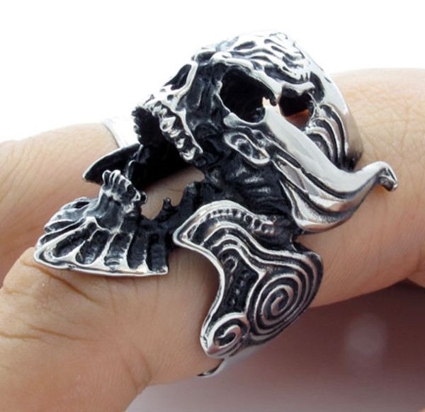 jewels menswear titanium steel punk skull ring skull ring