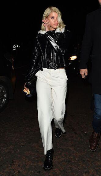 top pants sofia richie model off-duty fall outfits jacket