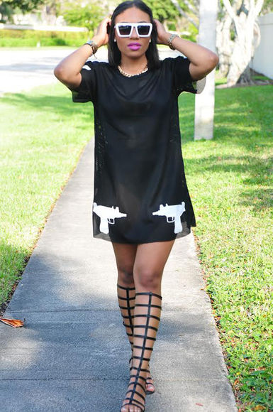 white sunglasses dress little black dress gladiator sandals guns shoes t-shirt