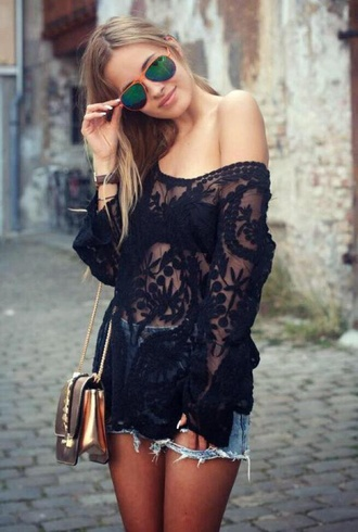 blouse sheer loose hang