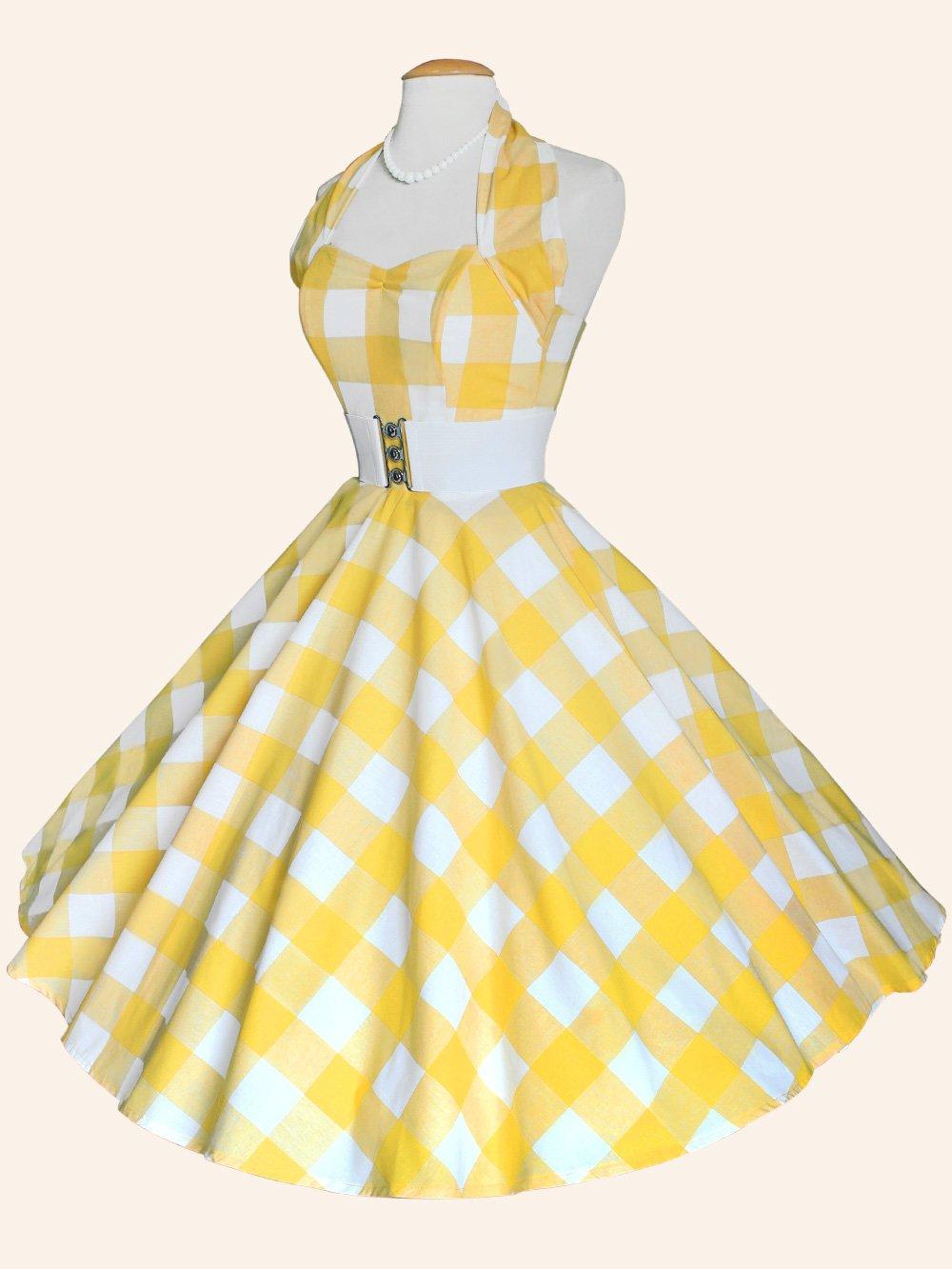 1950s halterneck large yellow gingham dress