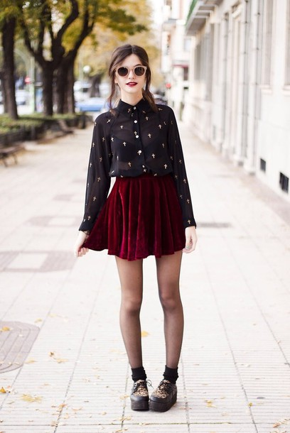 Blouse Crucifix Black Shirt Red Velvet Skater Skirt