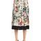 Floral printed pleated silk crepe skirt