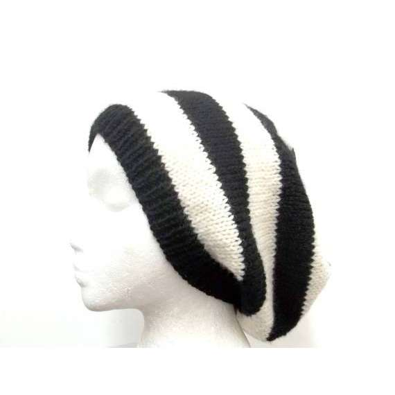 Hand knit beanie Black White Stripes Hat wool Beret by CaboDesigns | ThisNext