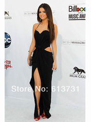 Online shop new arrival 2014 black sheath halter chiffon side slit backless floor length selena gomez red carpet celebrity dresses long