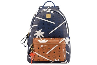 bag backpack rihanna blue navy brown leather palm tree print
