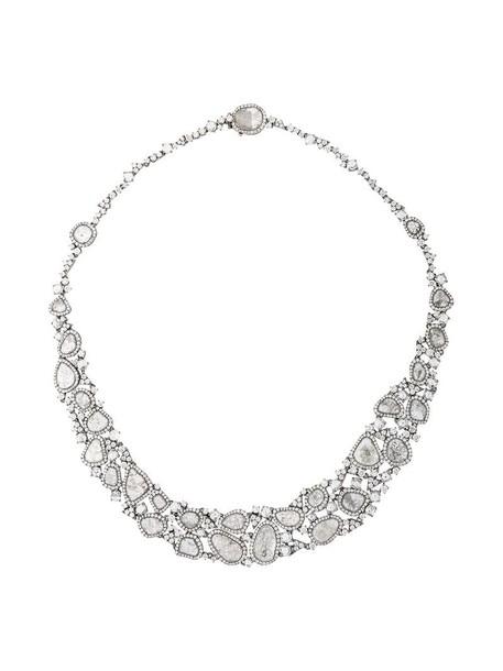 Saqqara women necklace diamond necklace gold white grey metallic jewels