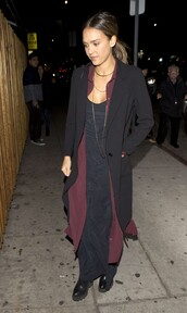 dress,burgundy,shirt dress,fall outfits,jessica alba,maxi dress
