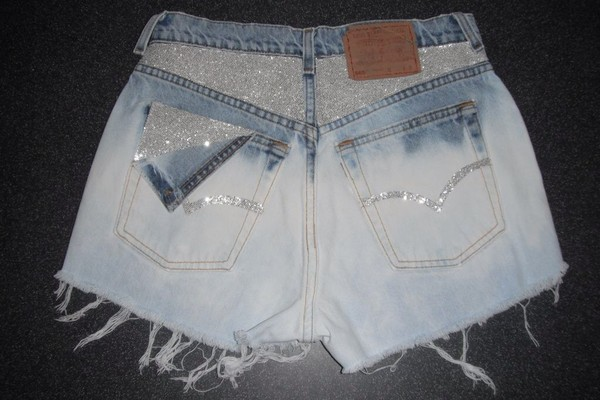 shorts denim glitter