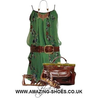dress green dress forest green bohemian dress boho dress summer outfits summer dress summer shoes high heel sandals sandal heels brown sandals brown leather bag brown green