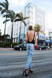 top,open back bodysuit,open back,open back top,bodysuit,black bodysuit,sexy,backless,backless top,denim,jeans,blue jeans,sandals,sandal heels,high heel sandals,shoes