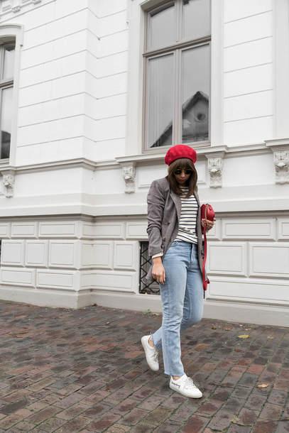 hat tumblr beret denim jeans light blue jeans sneakers white sneakers low top sneakers blazer grey blazer top stripes striped top