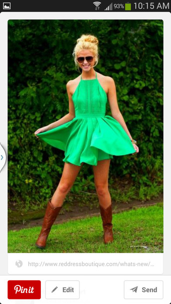 dress halter neck top green dress flowy dress
