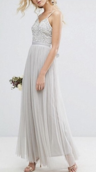 dress grey diamonds embellished wedding bridesmaid embellished dress grey bridesmaids dress
