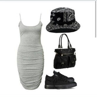 purse bag vans curvy ootd bodycon dress bandana print bandage dress bucket hat polyvore clothes t-shirt shoes sneakers outfit tight grey tight dress bandana bucket hat grey dress black bag black purse black shoes black vans trill