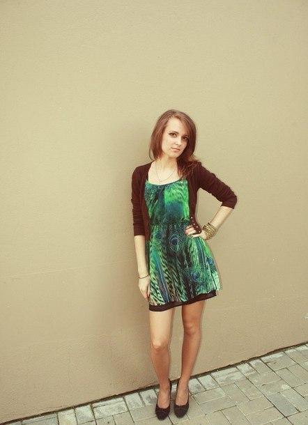 dress mini dress boho dress green dress feather print birds animal print cardigan short cardigan brown cardigan