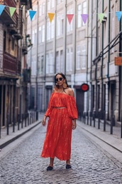 jewels,earrings,midi dress,off the shoulder dress,slide shoes,belt,black sunglasses