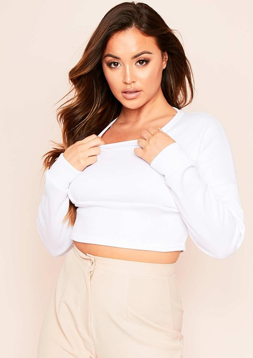 Jacine White Fitted Waist Cropped Sweater