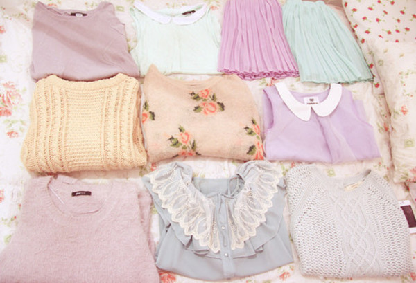 blouse pastel flowers floral pink purple vintage skirt