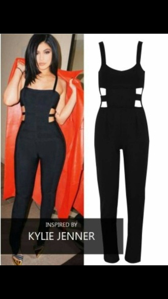 jumpsuit black black jumpsuit kylie jenner kardashians kendall and kylie jenner celebrity celebstyle for less summer outfits spring outfits fall outfits winter outfits bodycon cute girly beautiful style dope cut-out sexy sexy outfit trendy