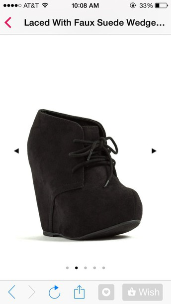 shoes black wedge booties