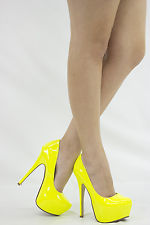 NEON YELLOW CLOSED TOE STILETTO HIGH HEEL HIDDEN PLATFORM WOMEN PUMP SHOE US 7.5