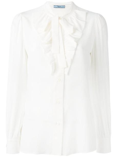 Prada - pussy-bow blouse - women - Silk - 40, White, Silk