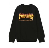 sweater,black,thrasher,red,flames,sweatshirt,black sweater