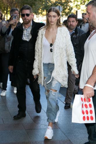 cardigan streetstyle paris fashion week 2016 top jeans gigi hadid model off-duty fall outfits