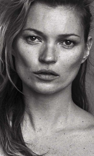 kate moss natural hair make-up