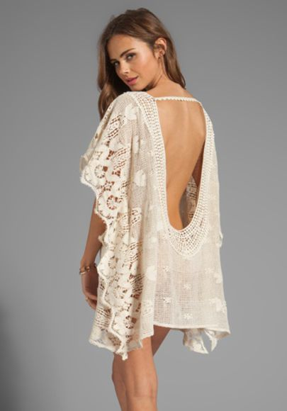 crochet ecru dress lace sexy boho cover up beach party summer