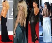 dress,low back,backless,open back,black,white,low,rihanna,thin strap,slit dress