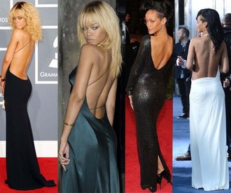 dress low back backless open back black white low rihanna thin strap slit dress