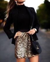 skirt,glitter skirt,disco skirt,glitter,sequins,sequin skirt,mini skirt,gold skirt,black blazer,blazer,bag,black bag