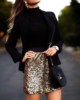 skirt glitter skirt disco skirt glitter sequins sequin skirt mini skirt gold skirt black blazer blazer bag black bag
